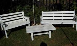3 Piece wooden garden set. 3 seater, 2 seater and
