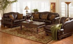 Designer full leather lounge suite 7 seater including