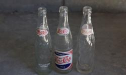 3 vintage pepsi bottles. bought in usa. R75 for all