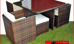 4 seater Brown Poly rattan dining table set 4 chairs