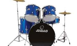 5 Piece Drum set Jinbao Stands, cymbals, pedal and