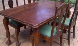 Antique Ball and Claw Dining table and chairs - R 5 000