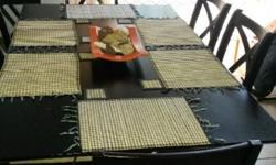 Dining room table, solid wood, suede chairs, wide &