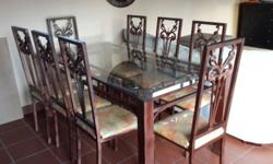 Lovely 8 seater Glass table, rectangular, with 8