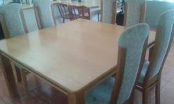 Beskrywing -8 high back chairs -solid oak table