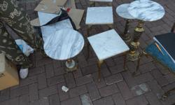 2x Brass chairs with blue removable seats (R1500 each)
