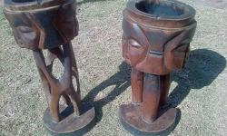 African Art Both for R200 Solid wood Left one 46cm