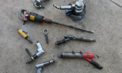 A variety of different power tools driven by air in
