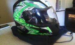 Matt Green & white AMA helmet. Brand new, only worn