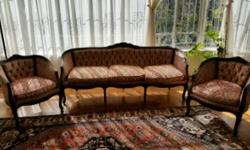 Solid wood, hand carved 3 piece antique sofa set. 2