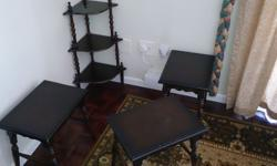 Antique coffee table with matching side tables and