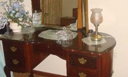 Lovely ball and claw Imbuia dressing table with 3