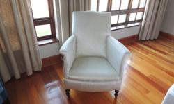 Antique nursing/boudoir chair reupholstered in oyster