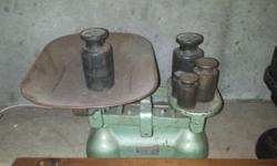 2 balance scales - cast iron and copper