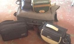 Assorted video and camera equipment for sale at a