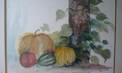 Beskrywing autumn fruit and vegetable watercolor on