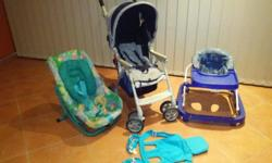 Secondhand pram , car seat ,walking ring & baby