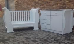 new white sleigh cot of 1300mm x 660mm with 3