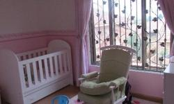 White baby cot and Swing Chair Very good condition.