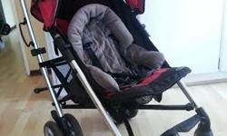 Black and red Bambino Classique Stroller.Light. Easy to