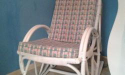 Beautiful white bamboo rocking chair perfect for