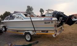 Beskrywing 21Ft cabinboat with 2X 90hp Evinrude V4