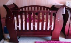Beautiful Mahogany Sleigh Cot and Compactum + bedside