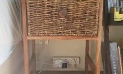 2 x wooden bedside tables for sale Woven baskets in