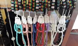 We sell bags jewellery scarves. Beads. Wool and loads