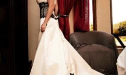 Beige satin wedding dress size 34 with black lace for