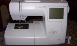 Beskrywing Bernina Deco340 embroidery machine.