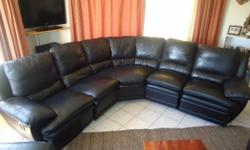 Beskrywing Black LEATHER Corner Lounge Suite With