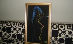 Vintage original 1970ts black velvet art piece. Newly