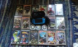 Blue psp with cover, 20 games and a charger