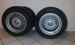 "Bmw 15"" rims with tyres and centre caps. 5x120 pcd."