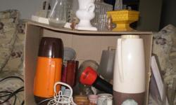 A nice box of collectables and bric a brac 2 x vases 5