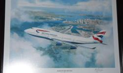 New British Airways painting With Wooden Frame 30 out