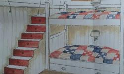Bunk bed set with steps that have 8 draws. Beds are ¾