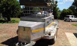 4x4 aliminium trailer with tent on top and side water