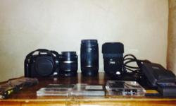 Canon 350d good condition with 3 lenses 90-300mm canon