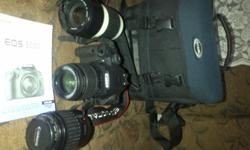 Canon 500D Camera with 3 lenses(18-55mm IS, 35-80mm,