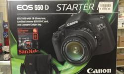 Canon eos slr 550d camera with lens and bag 8gb memory