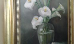 Oil Painting of white lilies by Freda V.D. Merwe in