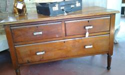 Teak chest of draws with two smaller draws and one