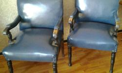 Two beautiful old worn chairs in blue that would