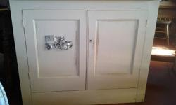 Vintage Wooden Two Door Cabinet with old car on the