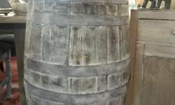 White washed wine barrel that is perfect for the