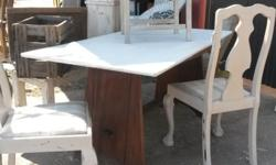 Wooden six seater dining room table with removable