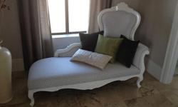 A beautiful French style Chaise Longue sofa in white