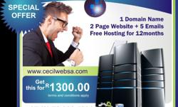 1 Domain Name 2 Page Website + 5 Emails  Free Hosting